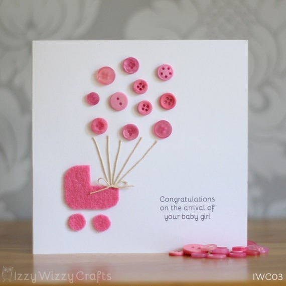 items similar to pink button balloon new baby girl card on