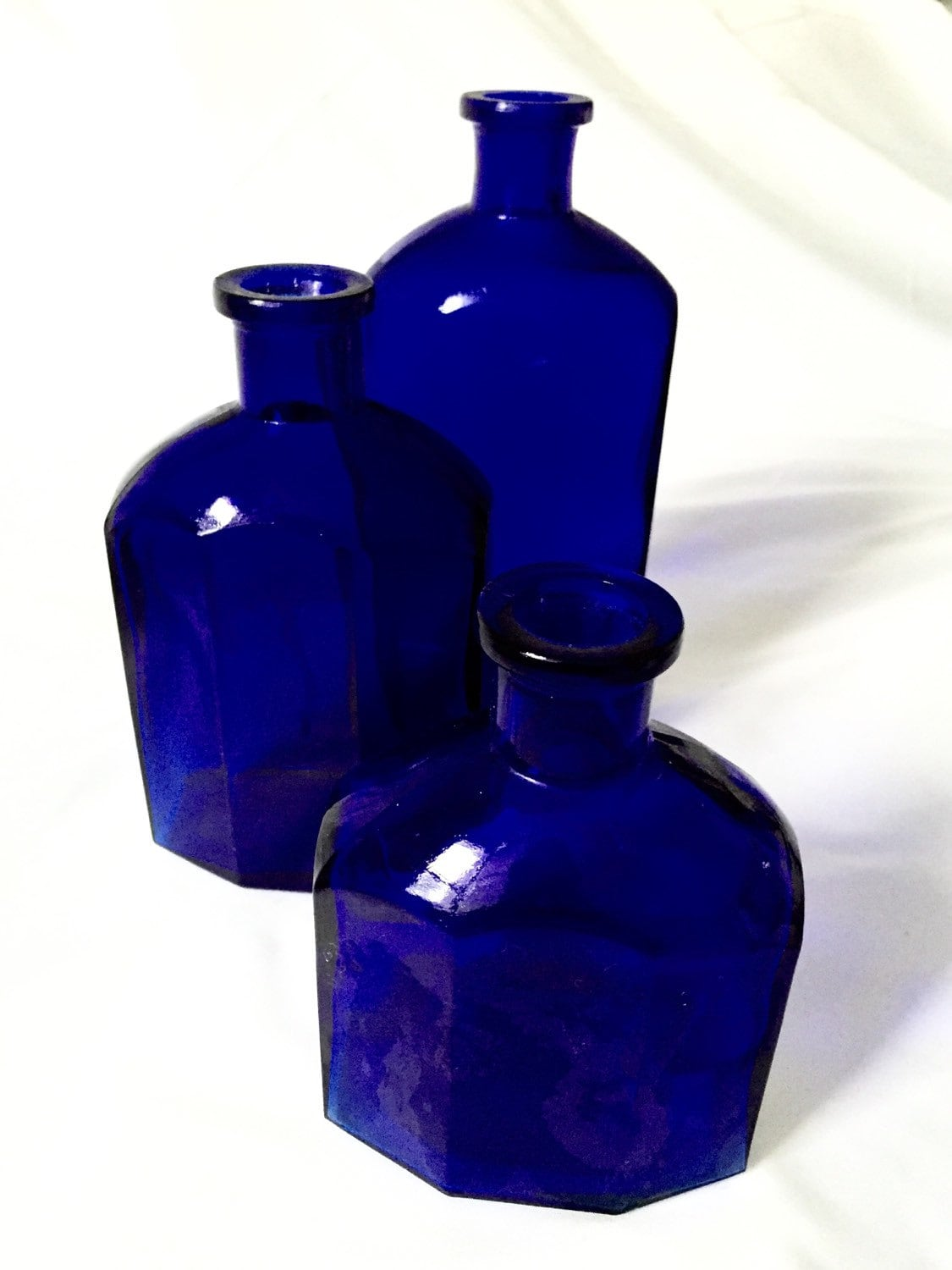 Cobalt Blue Set Of Bottles Blue Kitchen Decor By Kimscottageloft