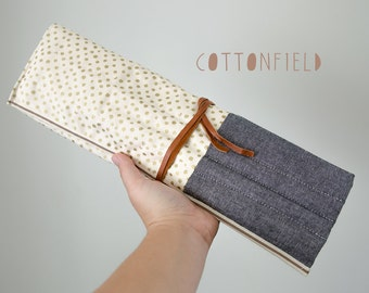Straight Knitting Needle Case in Gold Dots and Chambray