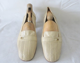 Cream Diamante Ladies/Women Woven Shoes/ Vintage/ UK 8/Eu 42/All leather shoes/comfortable shoes