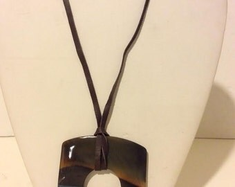 Blue lacquered square buffalo horn pendant necklace