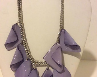 Lavender resin chunky short unique statement necklace