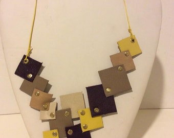 Brown tan yellow leather short mosaic necklace