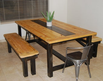 Farmhouse Dining Table with benches