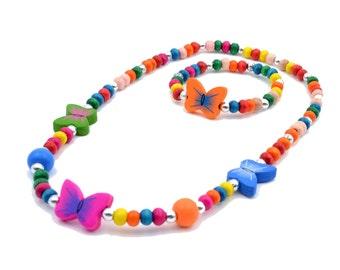 Party Favors 5 Sets Children's Elastic Wooden Bead Jewelry Set Necklace & Bracelet