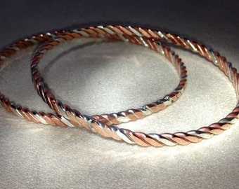 Copper & Sterling Silver Three Wire Twist Bangle