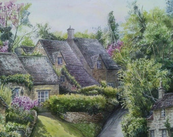 Village Bibury watercolor painting Country landscape painting trees painting Classic english cottage Garden painting Countryside watercolor