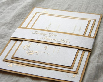 Pearl White and Gold Fancy Elegant Wedding Invitation SAMPLE SET
