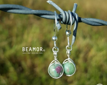 Gemstone 6mm Herringbone Weave wrapped Earrings