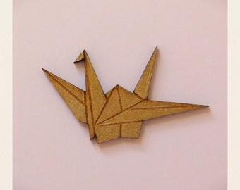 Origami Gold Swan Brooch