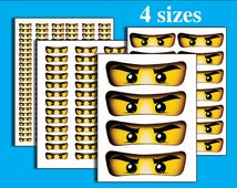 INSTANT DL- Ninjago eyes -for Balloon, Stickers, Lollipop, Favor bags, Cups - Ninjago birthday party (SET of 4 sizes)