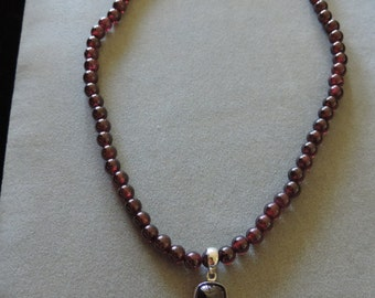 Garnet Necklace with sterling-silver finishings