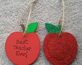 Personalised Best Teacher Ever Apple Gift Plaque - Thank you Pre school, Best Teacher Gifts