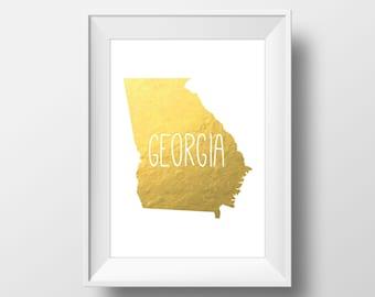 Georgia State Gold Foil Printable Art, Georgia Print, Georgia Art, Modern Art,