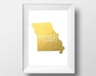 Missouri State Gold Foil Printable Art, Missouri Print, Missouri Art, Modern Art,