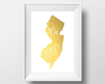 New Jersey State Gold Foil Printable Art, New Jersey Print, New Jersey Art, Modern Art,