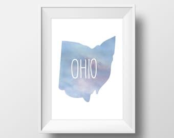Ohio State Blue Watercolor Printable Art, Ohio Print, Ohio Art, Modern Art,
