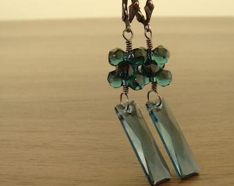 Montana Blue Earrings Swarovski Earrings Sterling Silver Earrings Oxidized Silver Earrings Blue Black Earrings Long Earrings Outstanding