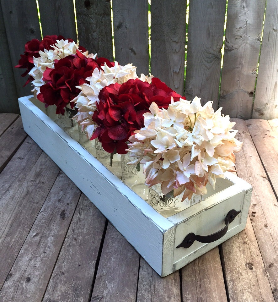 Rustic reclaimed wood box centerpiece metal by wildelmdesigns