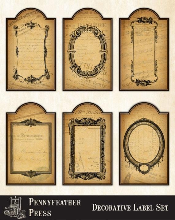 Decorative vintage labels printable labels clip art antique for Decorative labels for printing