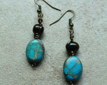 Turquoise howlite and freshwater pearl wire wrapped dangle earrings