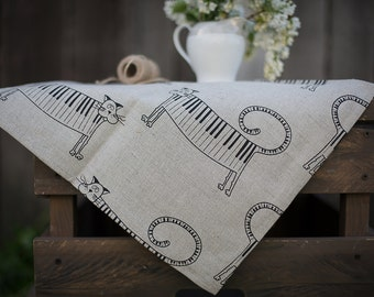 Linen kitchen towel with cat - piano