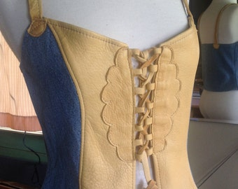 Golden Deerskin with  Recycled Denim ~ Nuisette