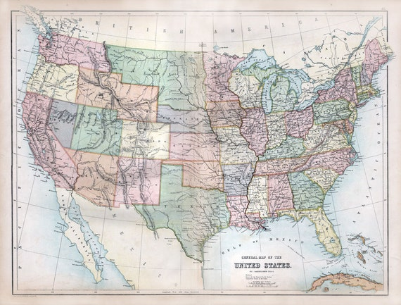 United States Of America From Blacks Atlas - 1867 us map