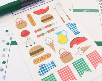 22 Summer BBQ Planner Stickers- Summer Barbecue Party Reminder Stickers- perfect in your Erin Condren planner, wall calendar or scrapbook