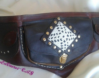 Fanny Pack leather and crochet Boho