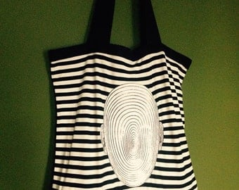 Stripy White Black Tote Bag