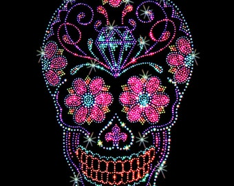 Womans LONG SLEEVE T Shirt Rhinestones Studs Day of the Dead Sugar Skull with Diamond  15467