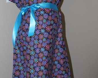 Sale! Maternity Hospital Delivery Gown in Blue Flower -Super Soft Fabric Perfect Snaps for Breastfeeding & Skin to Skin -Snaps down the back