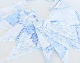 Fabric Flag Banner / Pennant / Bunting / White / Blue