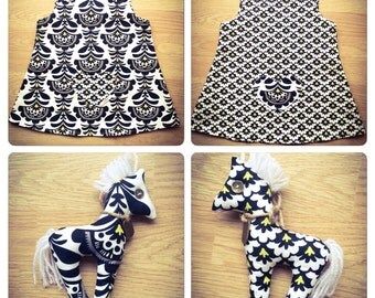 Handmade Reversable Black and White girl's dress (5-6) - (8-9) years with Horse