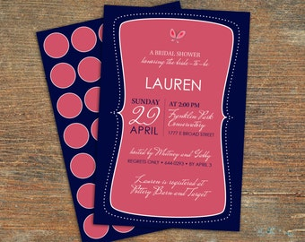 Bridal Shower Invitation, Navy and Coral, Customizable, Printable