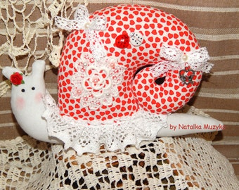 Tilda Snail, snail handmade, Valentines day gifts, tilda doll, red heart, wedding party decor, Interior Cloth Tilda Doll Snail