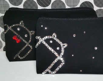 Android Droid Phone Case Zipper Clutch Purse Bag in Crystal Rhinestones