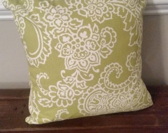 Green Paisley Pillow Cover - Indoor / Outdoor