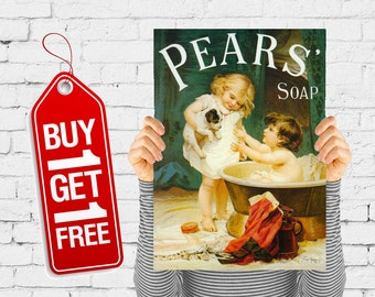 Pears soap poster bathroom print retro poster vintage, soap poster print retro advertising cleaning wall art shampoo decor - Pears Ii (2206)