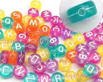 50PCS wholesale Assorted Color Acrylic Letter Beads 6mm Jewellery Making