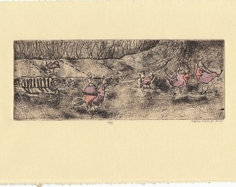 Birds on the Block, Etching