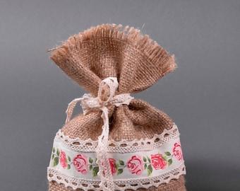 Burlap&Floral Ribbon Bag 30x11cm