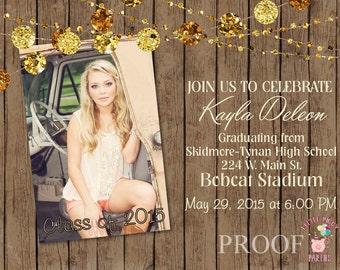 Graduation Invitations, Birthday Invitations, Vintage Wood