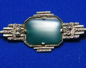 Vintage Chrysoprase Marcasite Sterling Silver Art Deco Brooch Pin