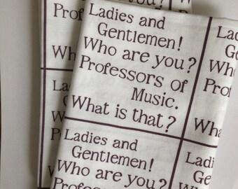 Professors of music tea towel. Purple