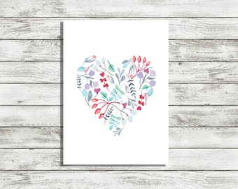 Water Color Heart Printable