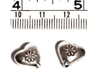 2 pcs Thai Karen Hill Tribe Silver Printed Heart Beads, 10mm, Fair Trade, fine silver, jewellery making, silver beads