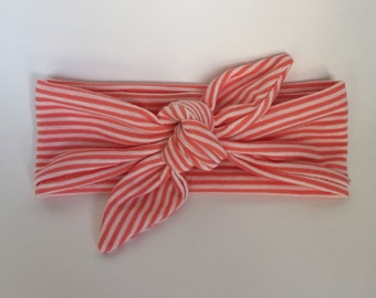 Knotted headband, Baby Girl Headband, coral and white stripe knotted headband, bow, headband, baby girl, headwrap, b