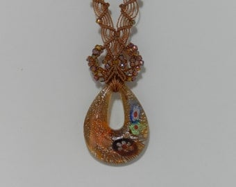 """Golden Brown Pendent Necklace - 15"""""""